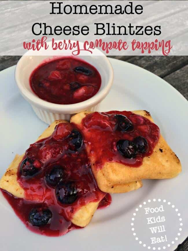 My family LOVES these creamy yet crispy homemade cheese blintzes with a berry compote topping. It's one of those special occasion dishes that will become a family tradition!