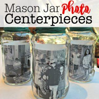 Mason Jar Photo Centerpieces