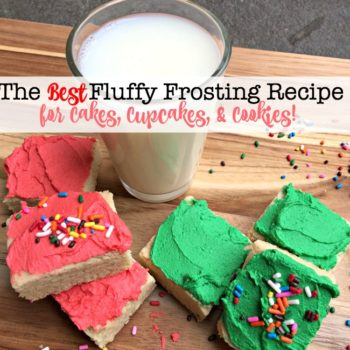 This fluffy frosting recipe is flavored with vanilla, butter, and almond extracts and is the perfect topping for cakes, cupcakes, and cookies! You will love it!