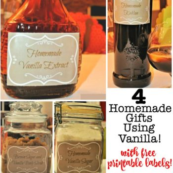 4 Homemade Christmas Gifts Using Vanilla {with Free Printable Labels!)