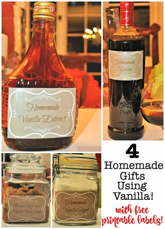 A great way to stretch your holiday budget is to create homemade Christmas gifts for co-workers, teachers, coaches, and other important people in your life. I love the scent and taste of vanilla and also love sharing it with others- so here are 4 homemade Christmas gifts using vanilla!