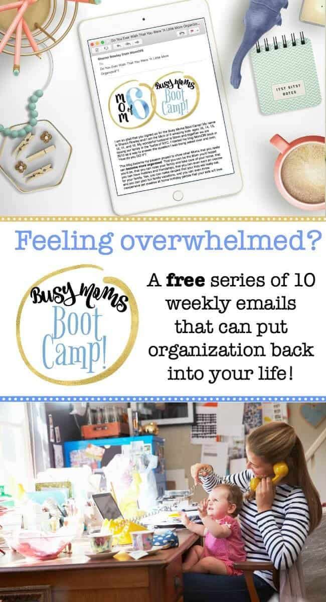 Busy Moms Boot Camp is a free email series that can help you to get organized, start using a family calendar that works for you, build family routines, and put systems into place to help you manage your busy life! #GetOrganized #MomHacks #FamilyCalendar #FamilyRoutines
