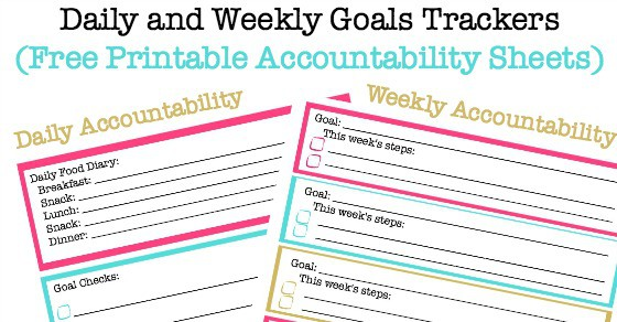 image regarding Printable Goal Tracker called Everyday Aims and Weekly Aims Monitoring Sheets (Free of charge Printable
