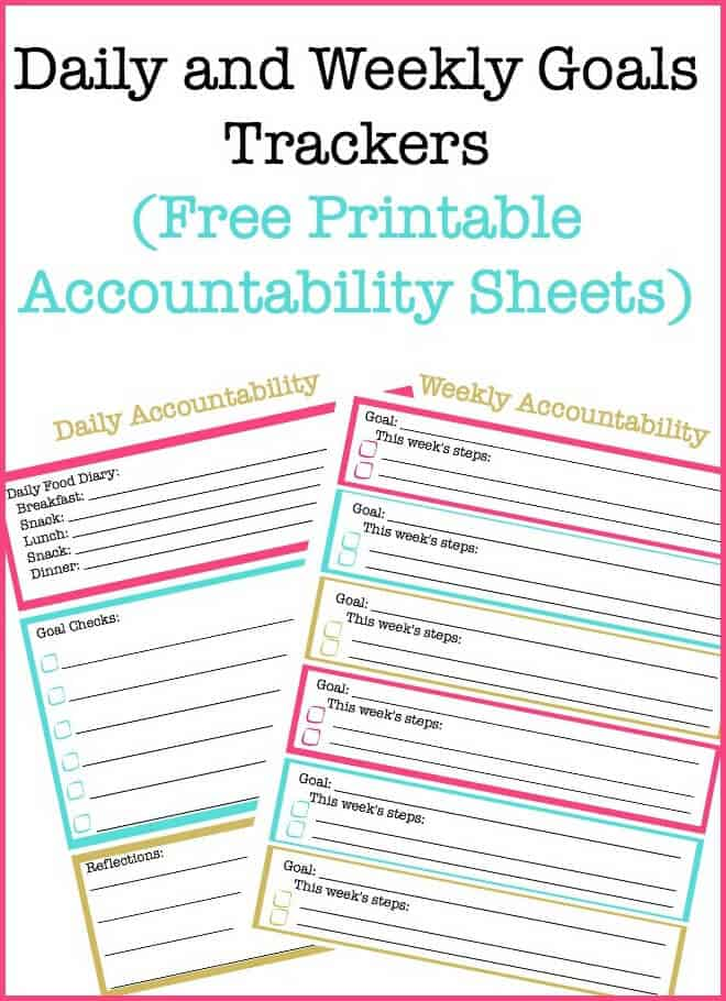 graphic relating to Free Printable Organizing Sheets known as Each day Objectives and Weekly Targets Monitoring Sheets (Free of charge Printable