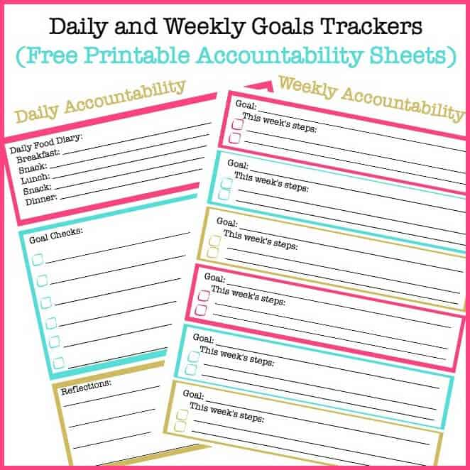 photograph relating to Weekly Goal Sheets referred to as Every day Ambitions and Weekly Objectives Monitoring Sheets (Cost-free Printable