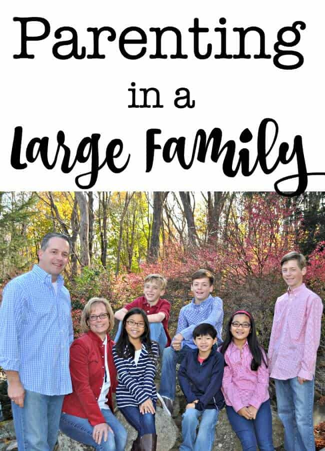 "Am I an expert on this whole ""parenting a large family"" thing? Heck no! I make mistakes and learn new things about my kids and their dynamics every single day! But I do have some tips to share that might help you as you navigate parenting too- no matter what your family size! #Parenting #LargeFamily"