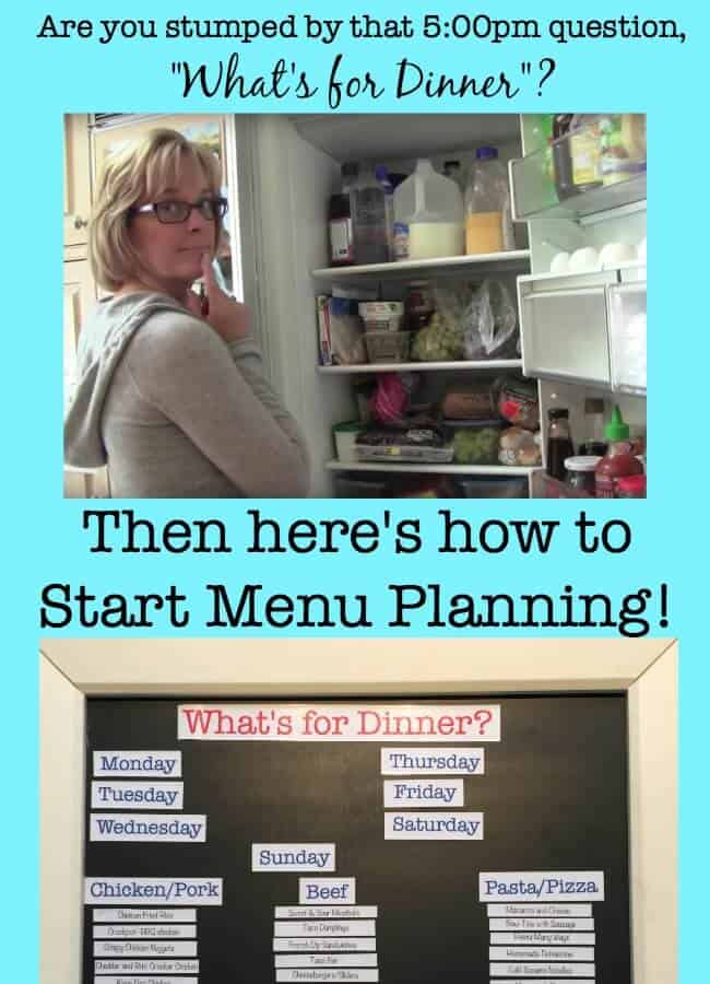Menu planning is the best tool for busy Moms- take a few minutes once a week to plan all of your meals and you'll know what you need to buy at the store, what should be defrosted in the morning, and whether you need to do any dinner prep during the day. And the best part of all is that the 5pm hour seems a heck of a lot calmer because you are just executing a prepared plan vs trying to think of one!