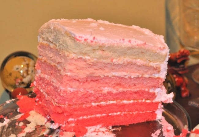 ombre layer cake for art party