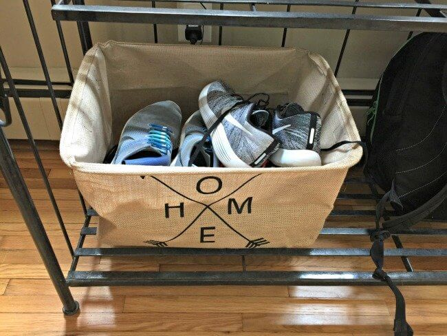 shoe storage in an entryway
