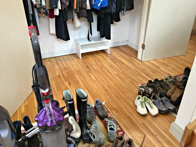 how to declutter your front closet