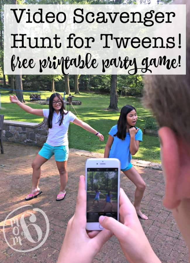 Scavenger hunts using phones seem to pretty popular these days for get togethers as well as for kids birthday parties! So how excited would your kids be to host their own video scavenger hunt for their friends? Here's the free printable party game you need!