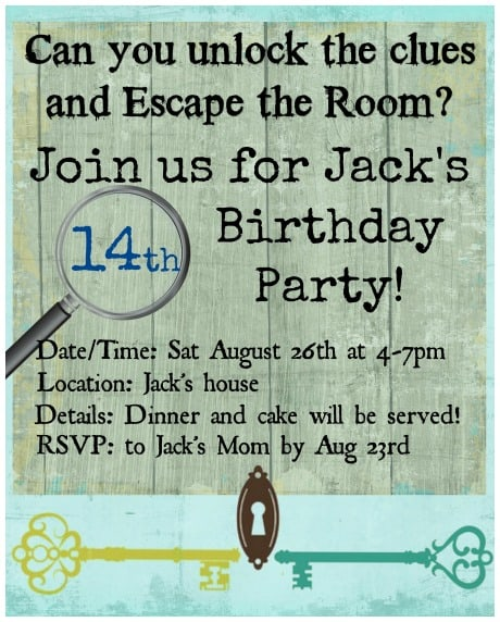 How to throw an escape room birthday party at home momof6 the escape room birthday party invitation stopboris Choice Image