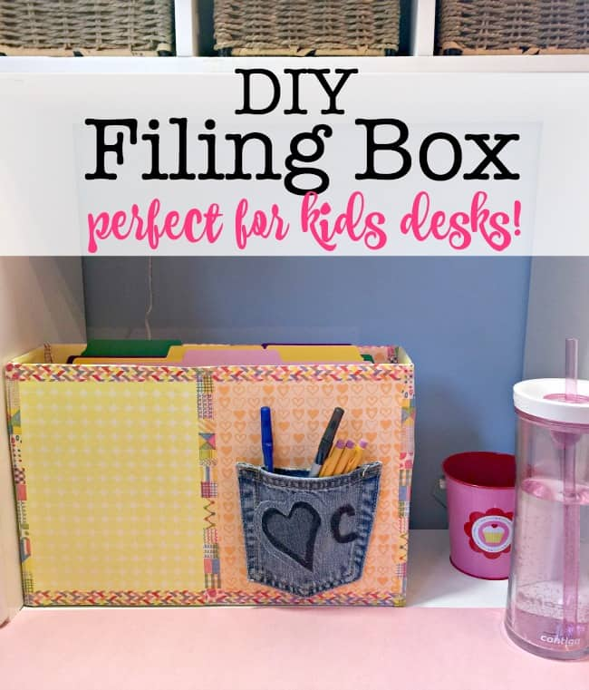 Middle and high school kids need a system to keep their paperwork organized during the school year, and this DIY filing box is a great project you can make in under an hour that will keep your kids organized for the entire school year!