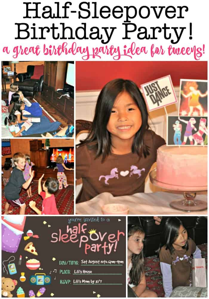 The half sleepover birthday party is the perfect idea for tweens! It has all the benefits of a sleepover party- girls wearing their jammies and snuggling up together to watch a movie and eat popcorn- without the actual sleeping over part! It's one of our favorite kids birthday parties to host! #HalfSleepover #SleepoverParty #SlumberParty #KidsBirthdayParty #TweenBirthday