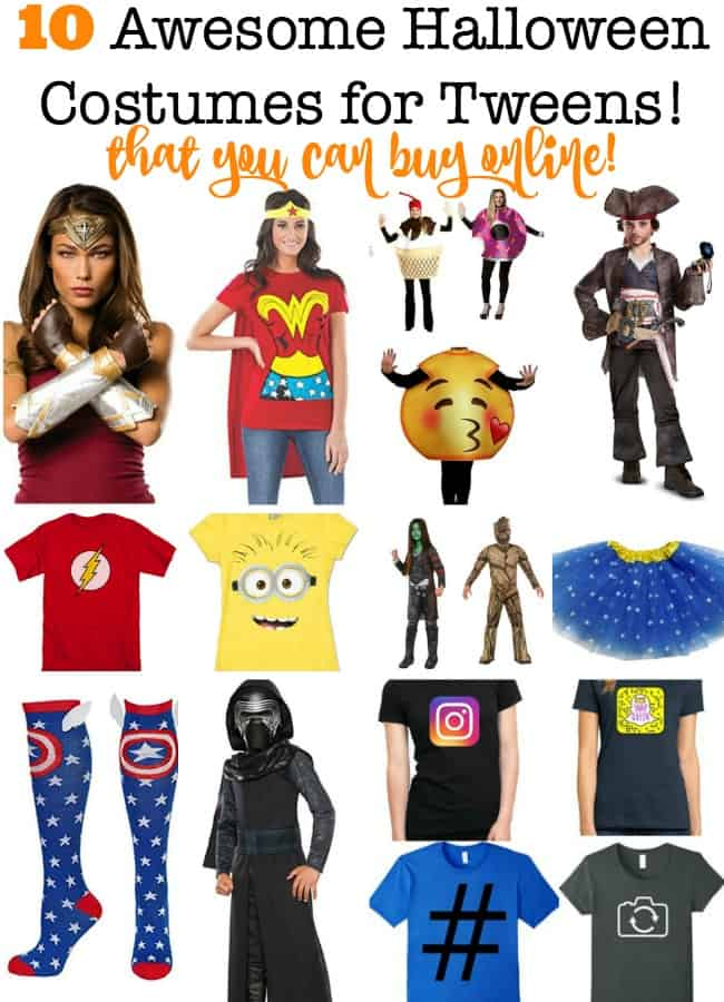 Tweens love to collect Halloween candy- but the hate the idea of wearing a costume that is uncool! Here are 12 awesome Halloween Costumes for Tweens that you can click and buy now!