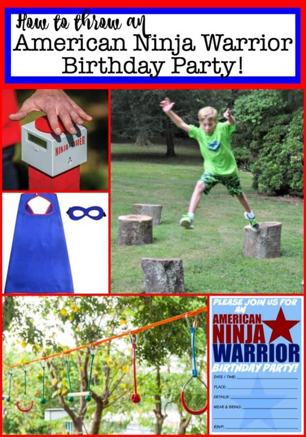 When it came time to plan my son's 11th birthday party- there was no doubt what he wanted to do- hold his own backyard American Ninja Warrior Birthday Party competition! Constructing a course in your backyard that matches the American Ninja Warrior theme and obstacles, but at a level that kids can actually do- is a challenge of its own!