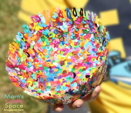 craft idea for kids: perlet bead bowls