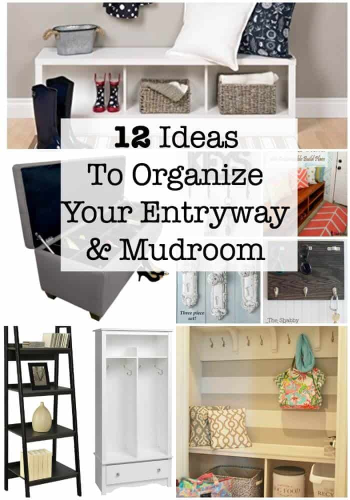 Looking for ideas to organize the entryway and organize the mud room in your home? Here are 12 great storage ideas to keep these areas organized and decluttered!  #OrganizeEntryway #OrganizeMudRoom #OrganizedHome #GetOrganized