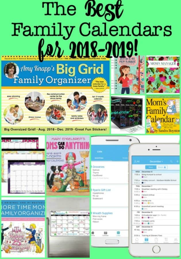Busy Moms who want to get organized need to have an awesome family calendar system in place- whether that's an electronic family calendar, a wall calendar, or a calendar you can carry in your handbag. Here are the 10 best family calendars for 2018-2019! Find the one that's perfect for you!