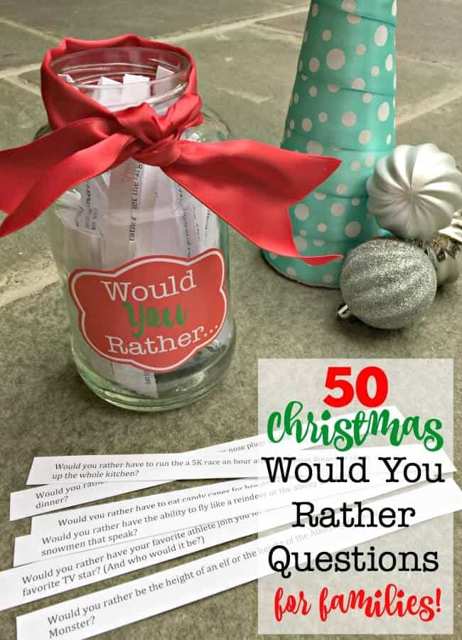 Looking for a fun game to play together as a family at the holiday dinner table? Then download these 50 Christmas Would You Rather questions! (Free Printable!)
