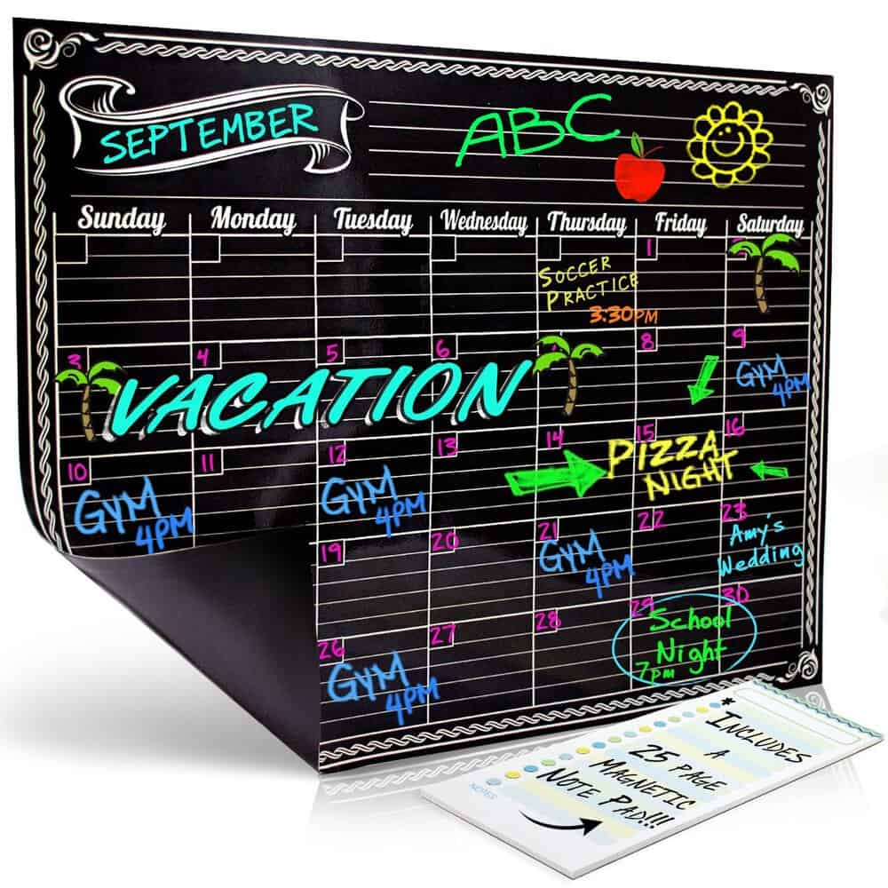 Chalkboard style monthly calendar
