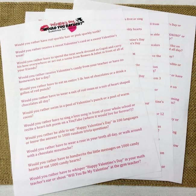 These Valentine's Day Would You Rather questions are specially designed with tweens in mind and are perfect for classroom parties, club meetings, and sleepovers!