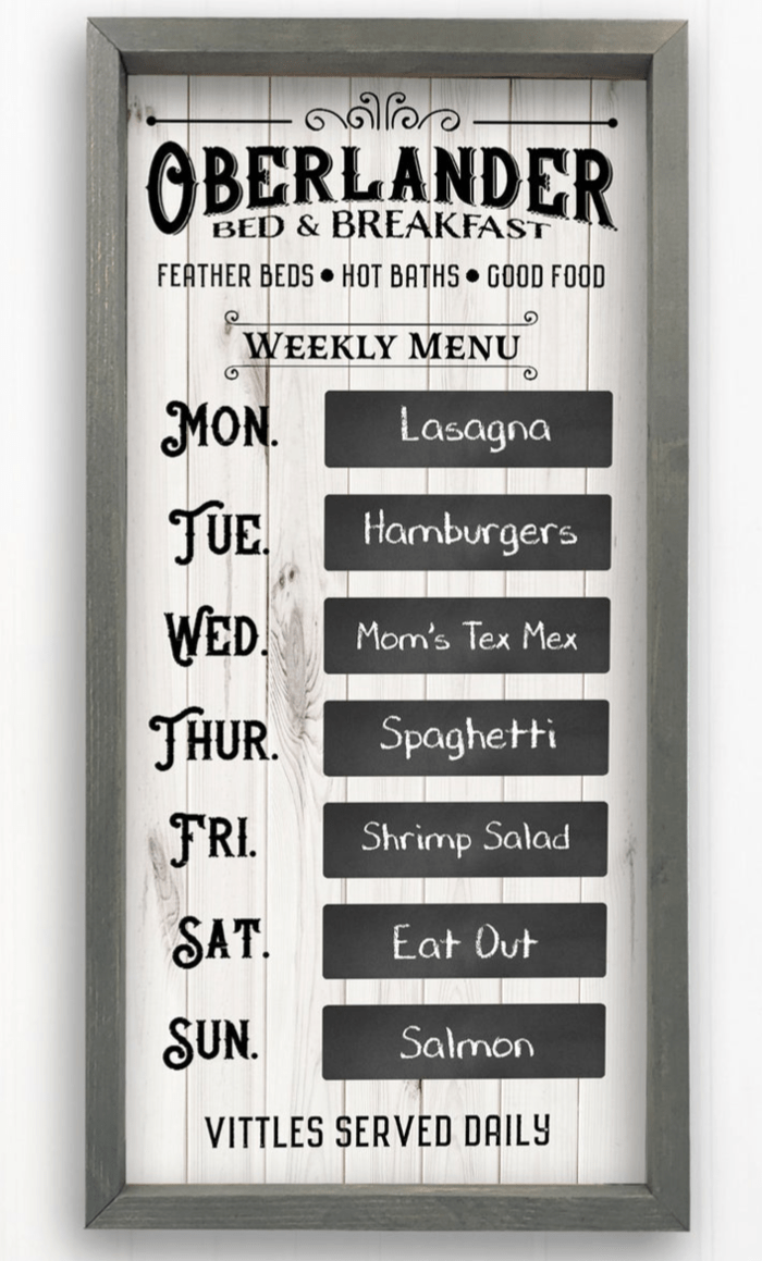 custom made farmhouse style menu board