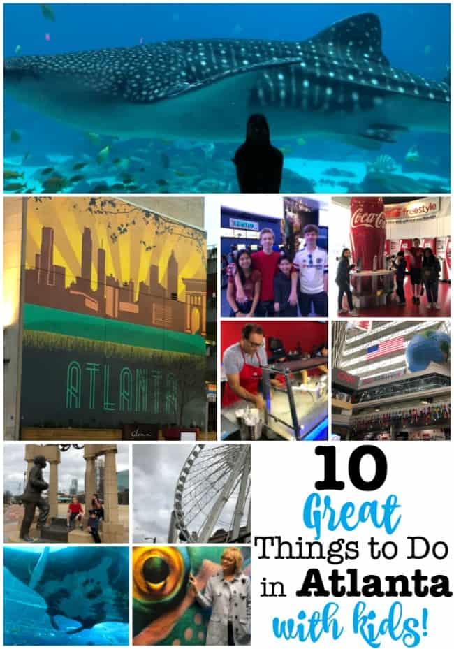 Atlanta is a great city to visit with your family! There are so many fantastic things to see and things to do in Atlanta with kids- from the aquarium to a TV studio tour, to the best tasting ice cream and other sweet treats! Check out our 10 favorites!