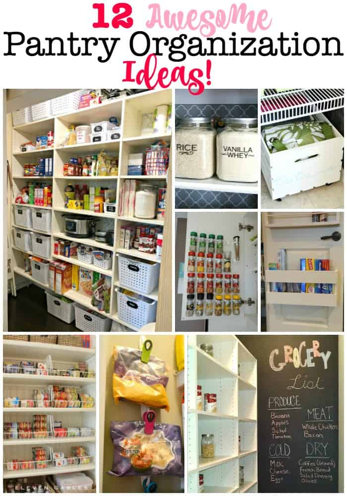 Here are 12 fantastic pantry organization ideas! Having an organized pantry means you can create meals around ingredients you have on hand, use food items before they expire, and avoid buying duplicates of things you already own! #PantryOrganization #OrganizedPantry #GetOrganized #OrganizedKitchen