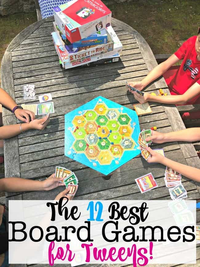 "Every parent should have a shelf of the best board games for tweens to play- when they have friends over, when it's a rainy day, or just when they claim that they are ""so bored"" and don't know what to do (and they are hoping you'll relax your ""no electronics during the week"" rule!). These are the 12 best board games for tweens that should be on that shelf!"