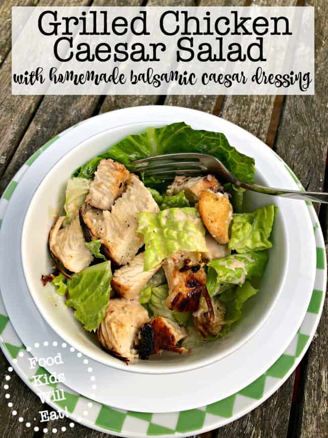 I have to admit- it was a proud Mama moment the first time we went to a restaurant and three of my kids decided that what they most wanted to eat for dinner was a Caesar salad! Here's our family recipe for grilled chicken caesar salad with homemade croutons and balsamic caesar dressing!