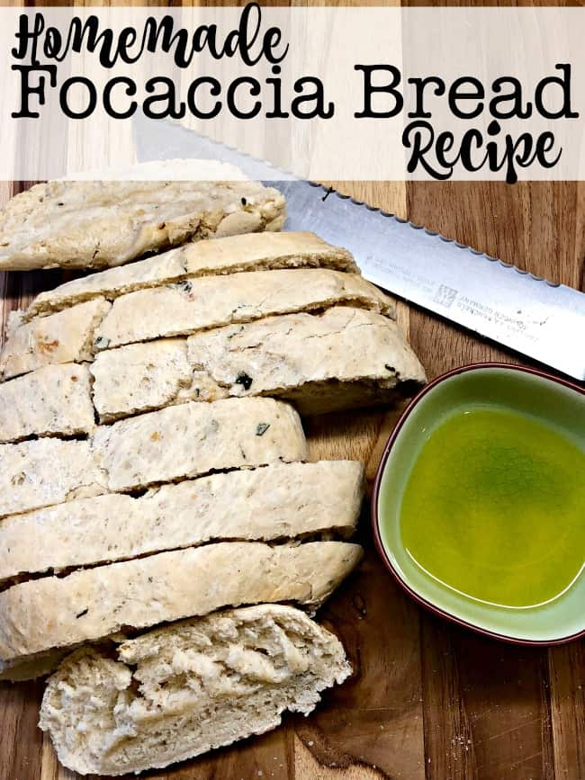 This homemade focaccia bread recipe is one of our family favorites! I serve pasta for dinner at least once a week- it's fast, it's easy, and the kids love it. But it also gets a little boring week after week. Unless you mix it up a bit- and bake some homemade bread to go with the meal!