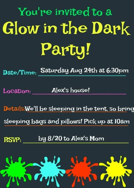 These glow in the dark party ideas are sure to be a hit with your tweens! This post includes some great glow in the dark games, ideas on how to decorate for your party, food to serve, and even a free printable party invite and thank you note!