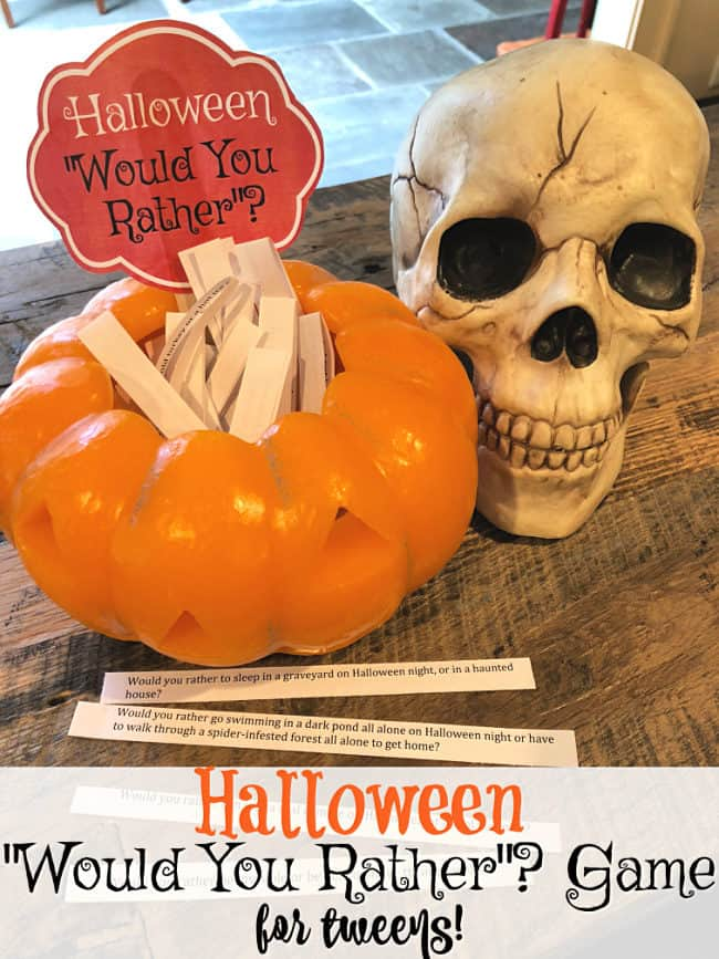 photograph relating to Would You Rather Printable referred to as Halloween Would Yourself Instead Match for Tweens! cost-free printable