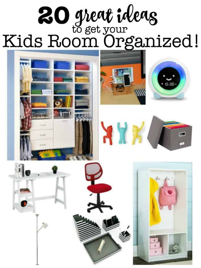 Here are 20 great ideas for kids room organization! Whether it's the start of a new school year or just the start of a brand new week- you can help your kids to get organized when you have routines they can use and the right tools in their room to help them follow those routines! 