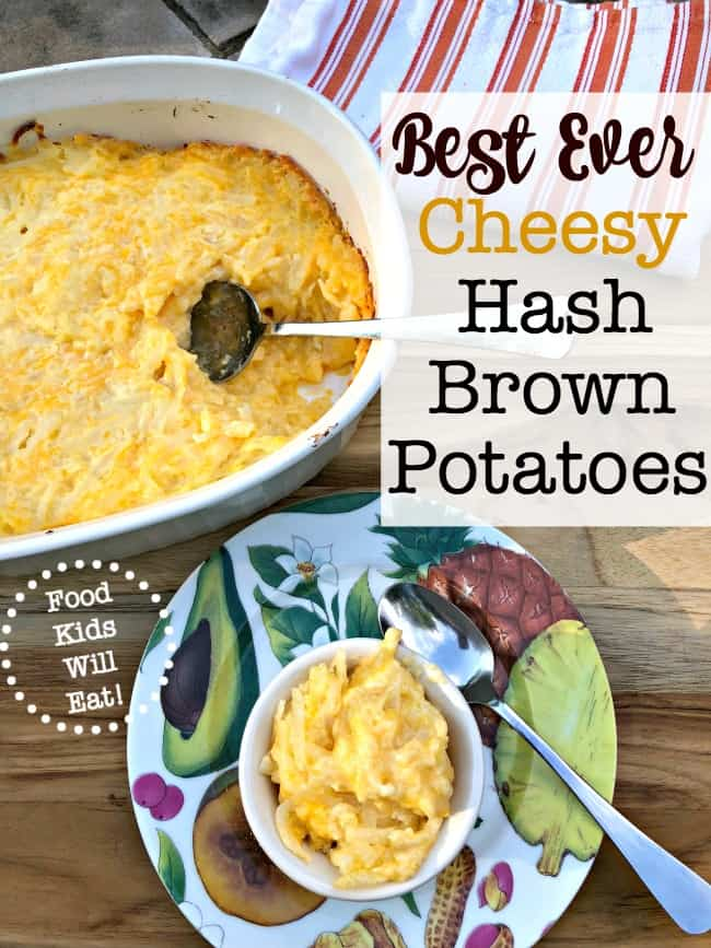 This recipe for cheesy hash brown potatoes will become your family's easy go-to side dish! It is perfect for a crowd and makes your whole house smell so yummy while it is baking in the oven!