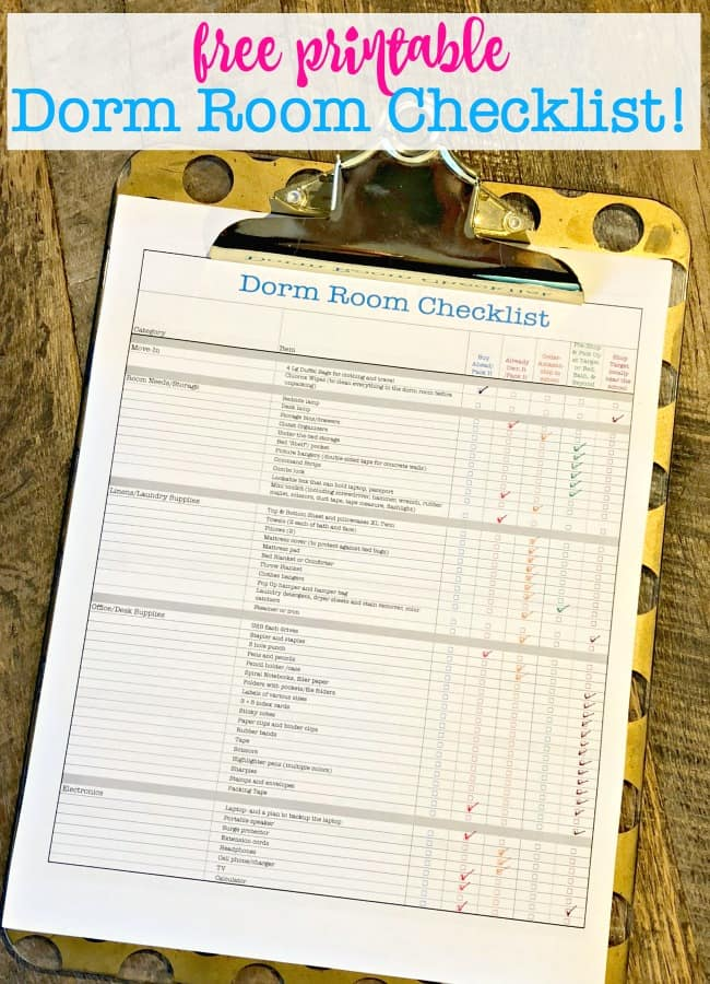 picture regarding Stay Organized With a Printable Moving Checklist named Dorm House Listing absolutely free printable! / 20+ Well prepared Dorm