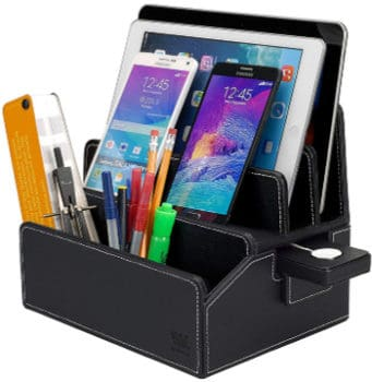 best black leather charging station