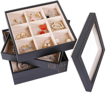 Valdler Clear Lid Jewelry Tray