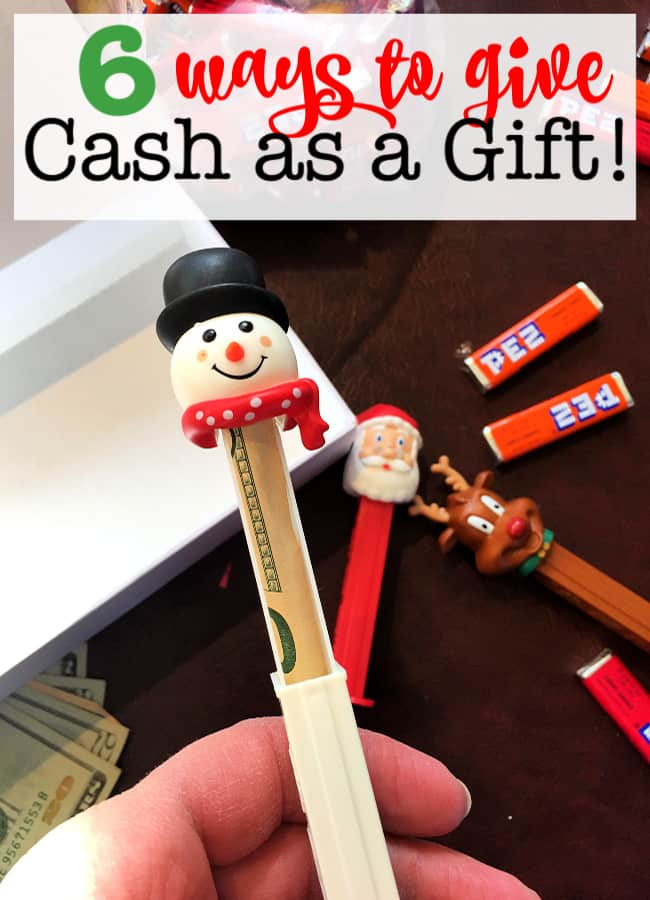"Looking for some fun ways to give cash as gifts? Since it's not much fun handing out an envelope on Christmas morning, I've found some ways to make giving cash more festive while gifting them something ""real"" to open!"