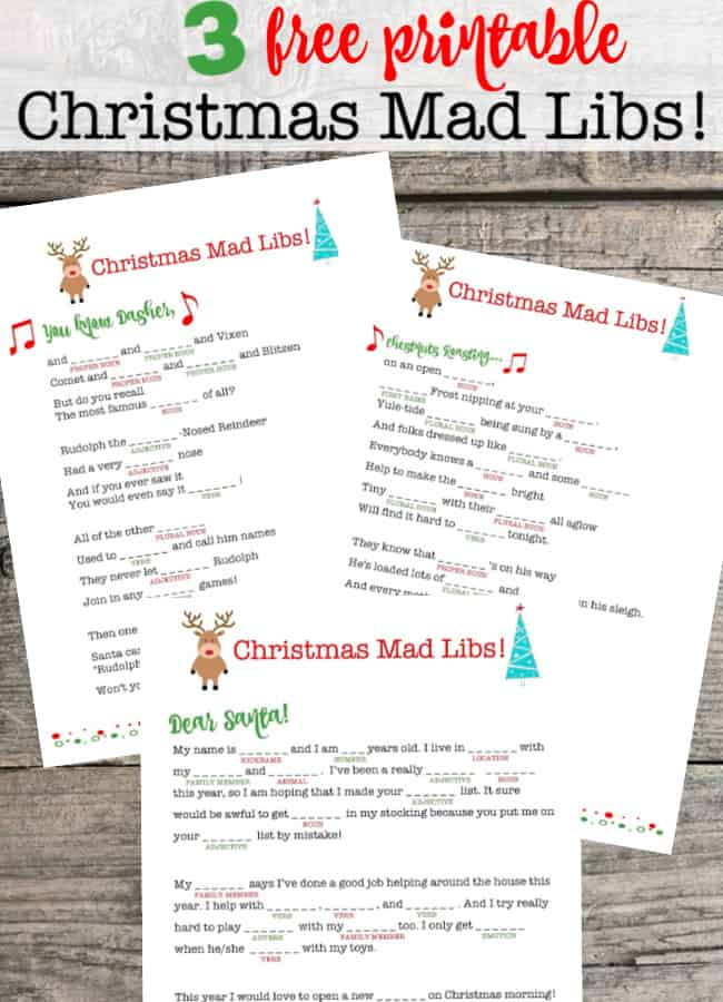 Are you looking for a fun game to play together as a family? These free printable Christmas Mad Libs are sure to be a hit at your house! Mad libs are some of our favorite party games for kids!