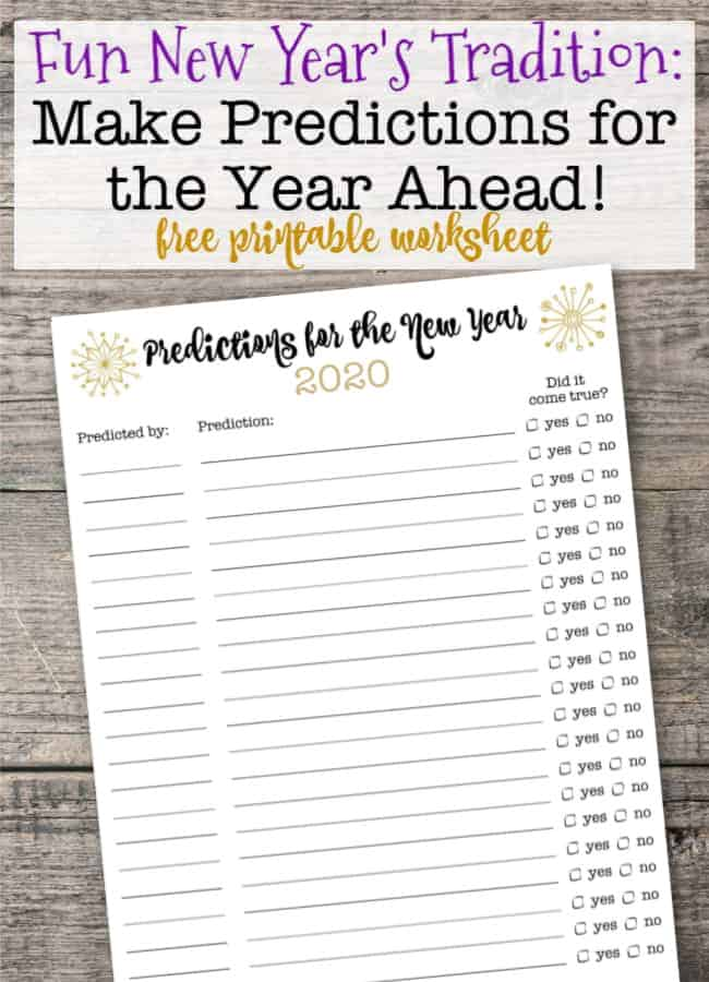 Try this fun family tradition this year- of writing New Year's predictions! (Because don't you feel that New Year's resolutions are more appropriate for adults than for kids?) This post includes a free printable worksheet for your family to use!
