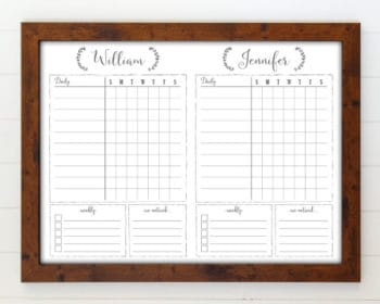 framed chore chart whiteboard