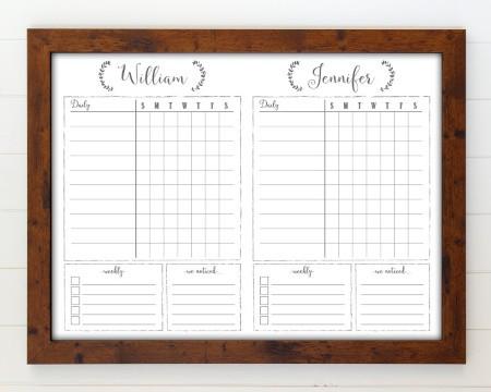 Framed Whiteboard Chore Chart for 2 Children