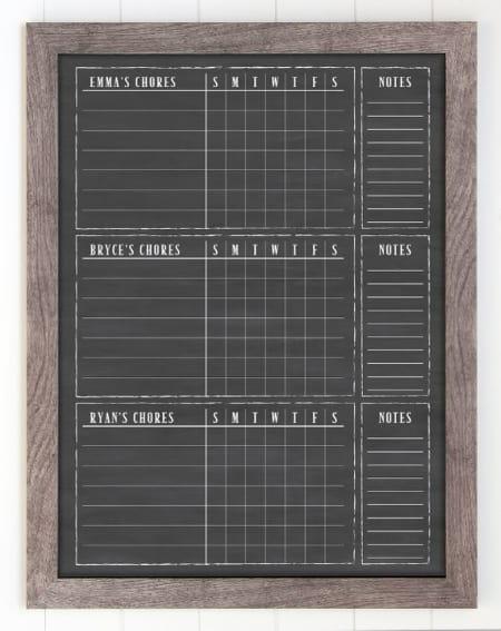 3 Child Framed Chalkboard Chore Chart