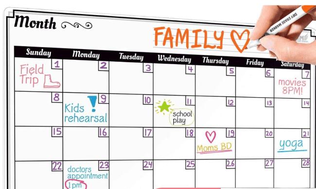 family calendar on fridge