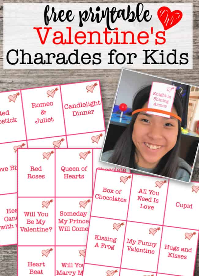 Looking for some fun Valentines Day games on hand for kids to play at school parties, club meetings, or even at the lunch table at school? This free printable party game for kids is a set of cards that you can cut out and play as a game of Valentine's Day Charades or Valentine's Day Heads Up!