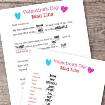 Valentines Mad Libs Game {Free Printable}