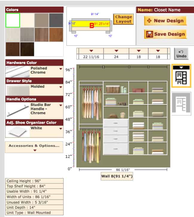 Use The Online Project Designer To Play Around With Your Closet Ideas It Is Easy Click And See How Will Look More Or Fewer