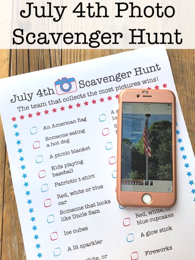 Here's a fun way to gate tweens and teens engaged while waiting for fireworks to start- a July 4th Photo Scavenger Hunt!